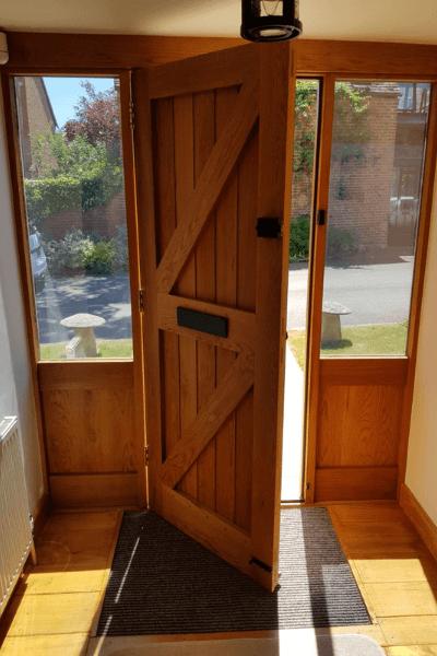 Glare control window film on a front door