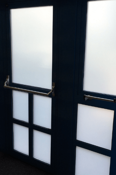 Frosted Privacy film applied to a dentists