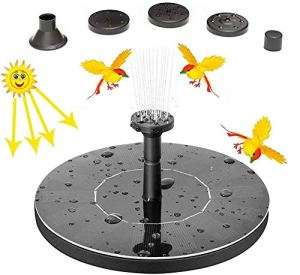 Oriflame Upgrade Solar Fountain,Solar Powered Fountain Pump for Bird Bath with 1.4W Free Standing Floating Birdbath Water Pumps for Garden Pond and Pool Patio Black