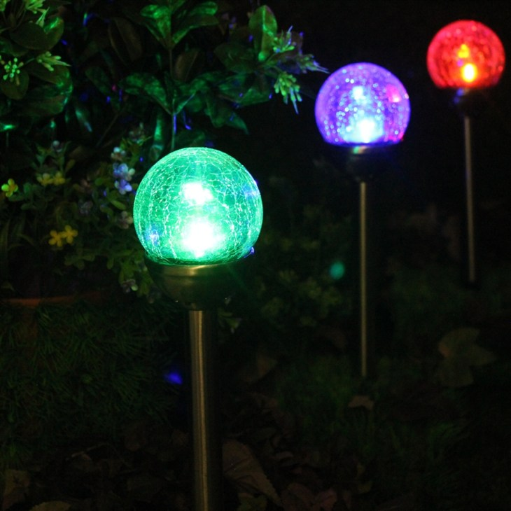 Crackle Glass Solar Stainless Path Lights: Color-Changing & White - Set of  Six (6)
