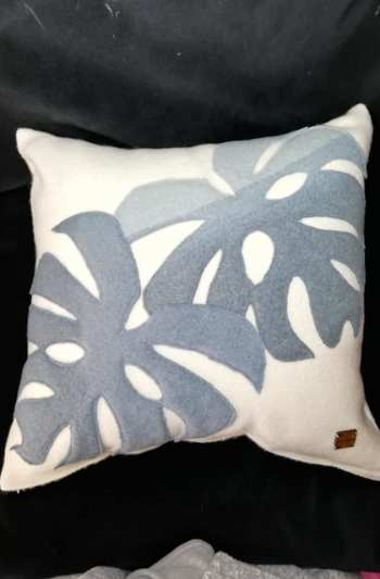 Felted lambswoolhand dyed applique cushion