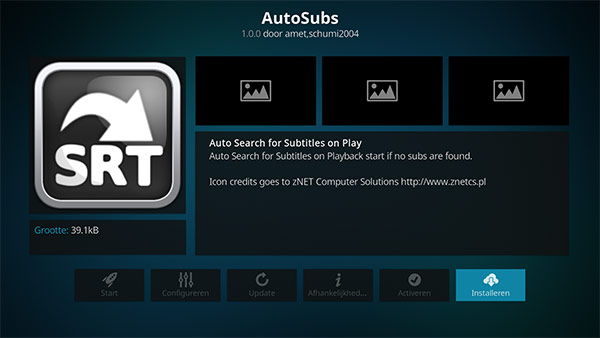 AutoSubs addon installeren in Kodi