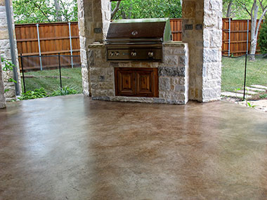 kona brown concrete stain on patio