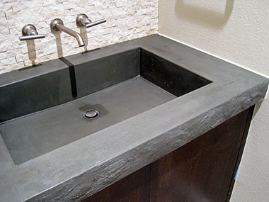 trough style green slate concrete sink