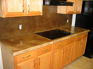 antique tan acid stained concrete countertop