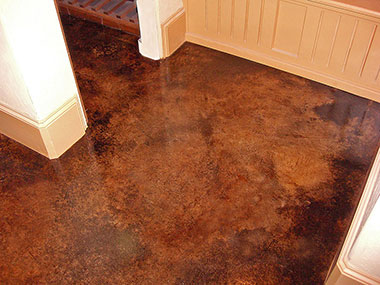 brown acid stained interior floor