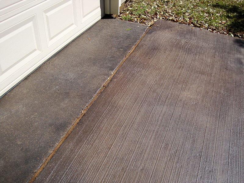 another view of brown acid stained driveway