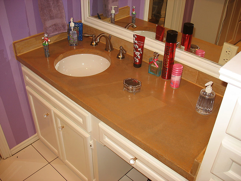 another view of stained concrete bathroom countertop
