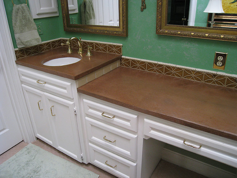 two level concrete bathroom countertop
