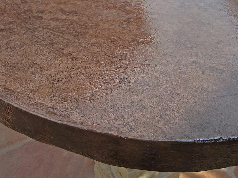 closeup of concrete countertop edge