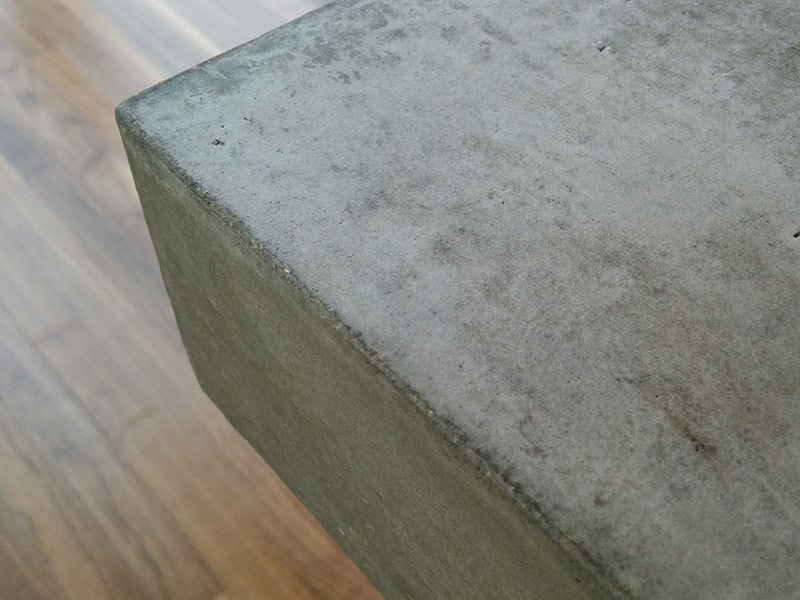 close up of concrete table edge