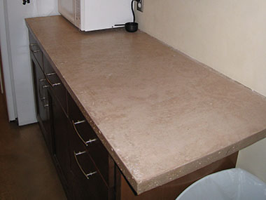 cocoa colored concrete kitchen countertop
