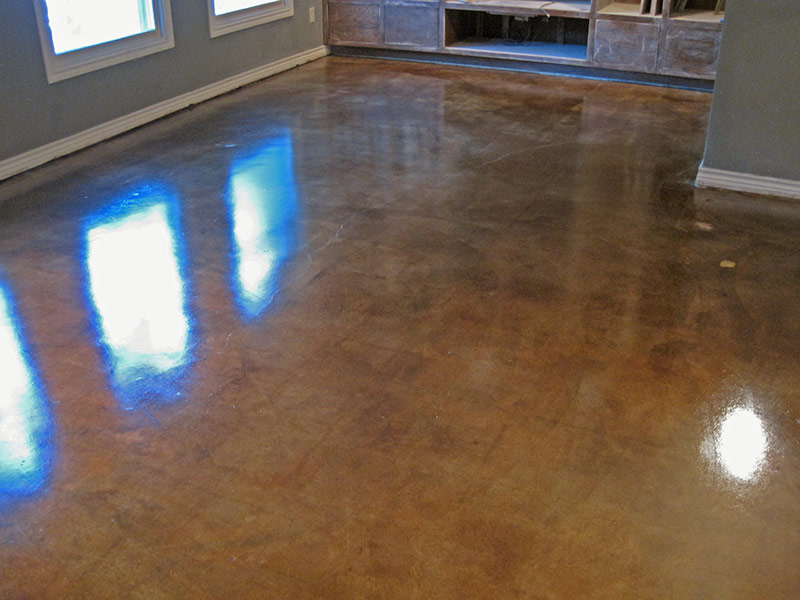 tile ghost images in acid stained floors