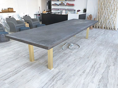 gray concrete conference table