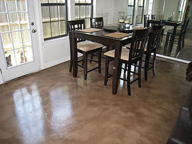 brown microfinish overlay with dining set