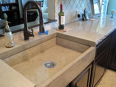 mesa buff concrete farmhouse sink