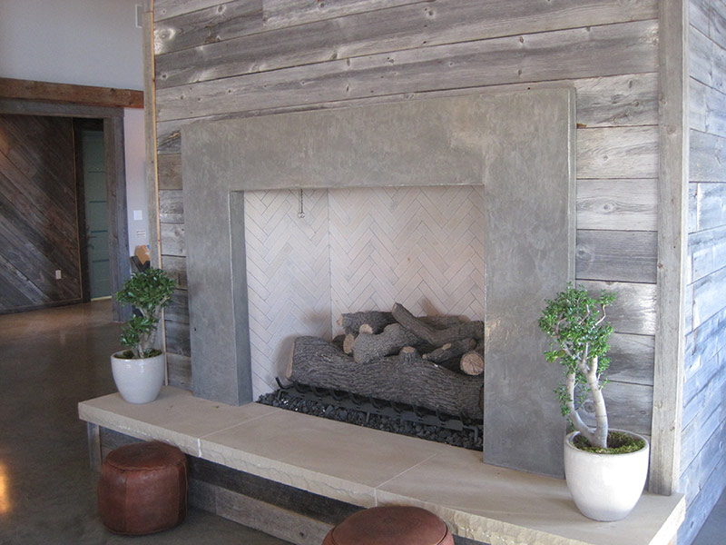 side view of concrete fireplace hearth