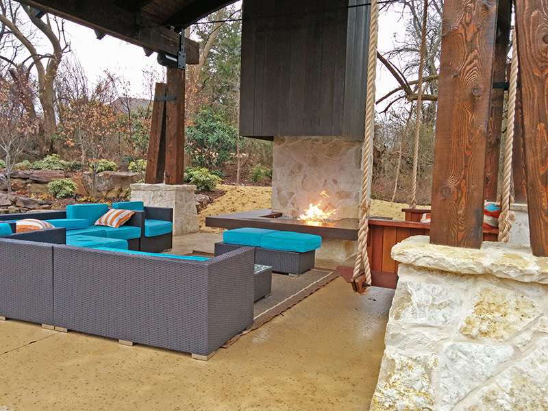 view of patio furniture with concrete mantle