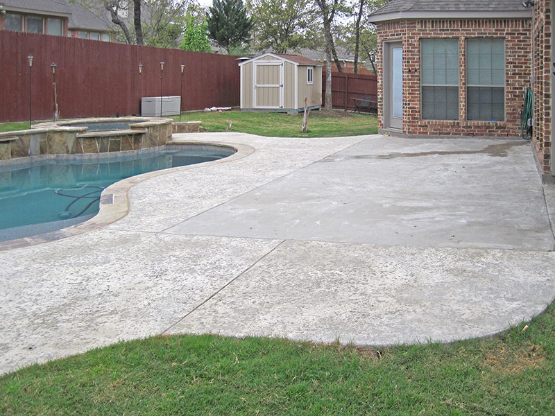 beat up concrete patio