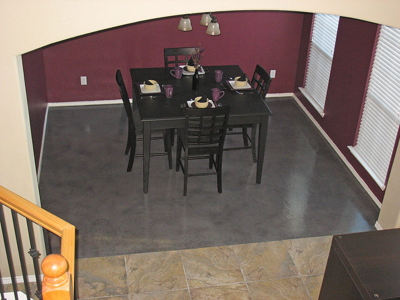 dining table set on gray microfinish overlay