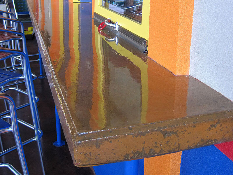 another view of concrete countertop with epoxy sealer