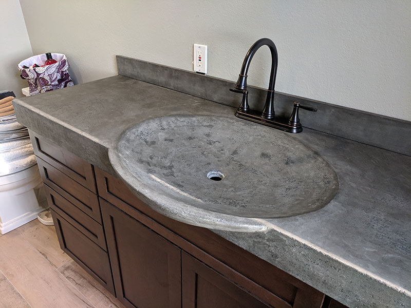 view of bowl of integral concrete sink