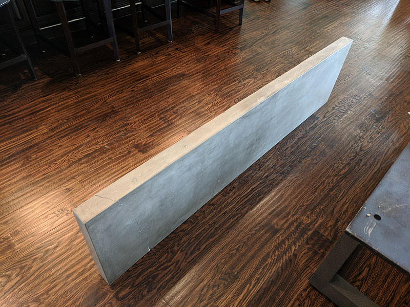 cracked concrete sofa table top