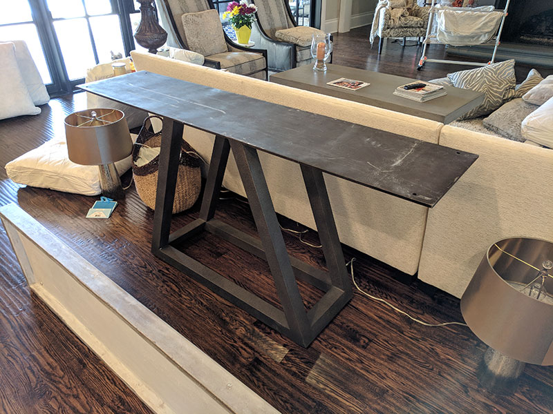 steel base of concrete sofa table