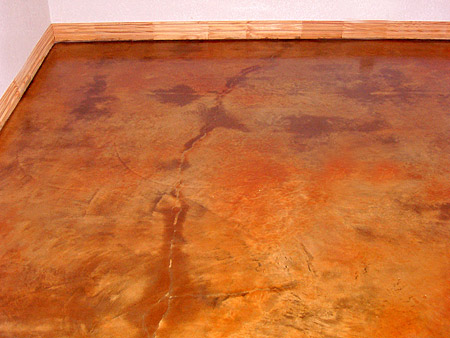 cracks in an acid stained floor