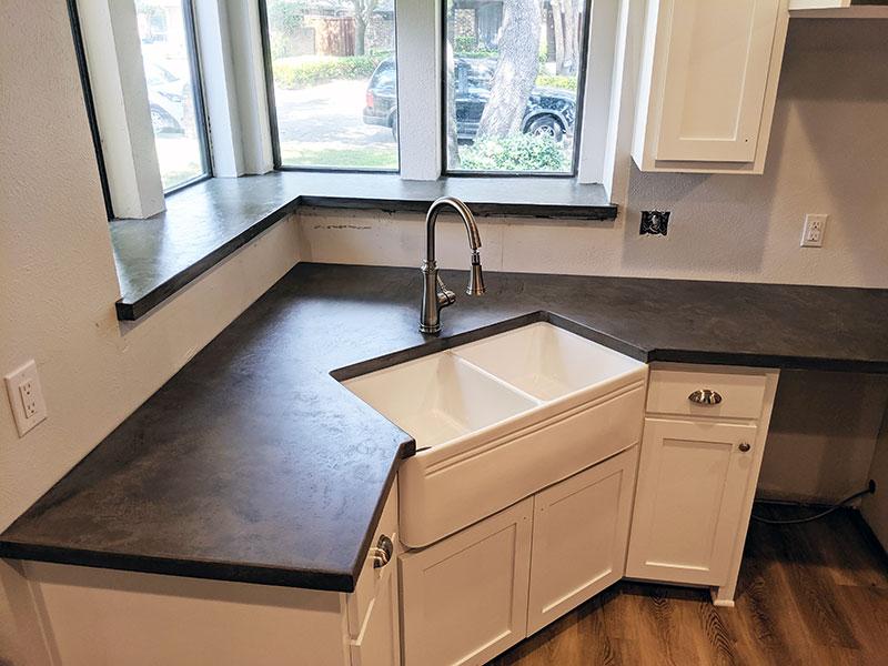 dark gray concrete countertop
