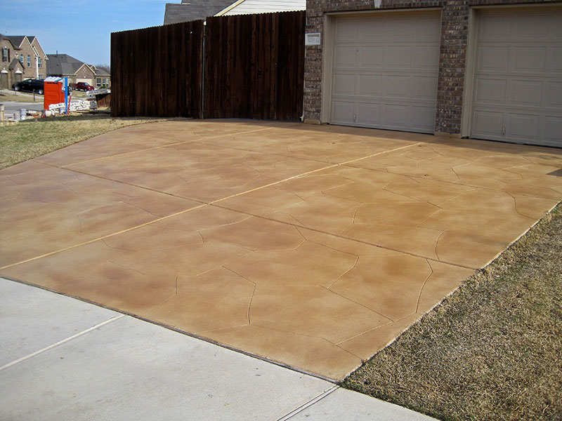 side view of skim coat on driveway