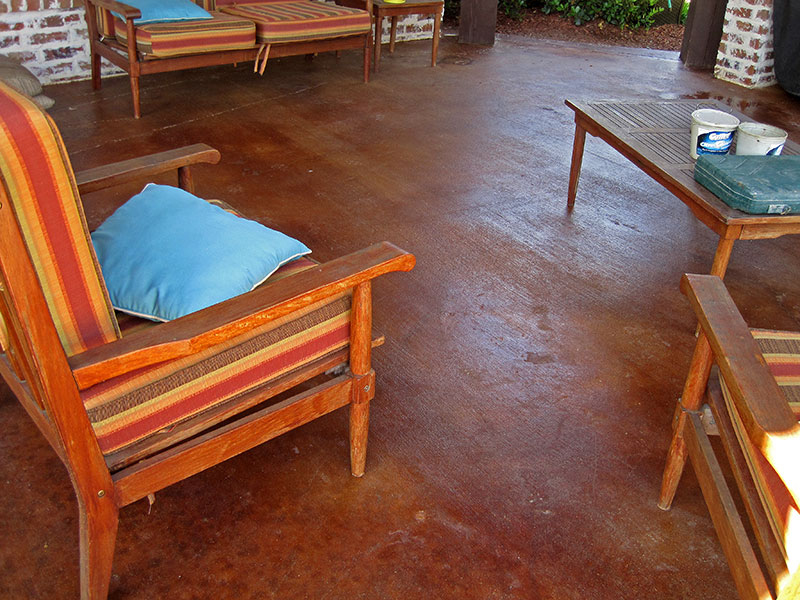 furniture on acid stained patio