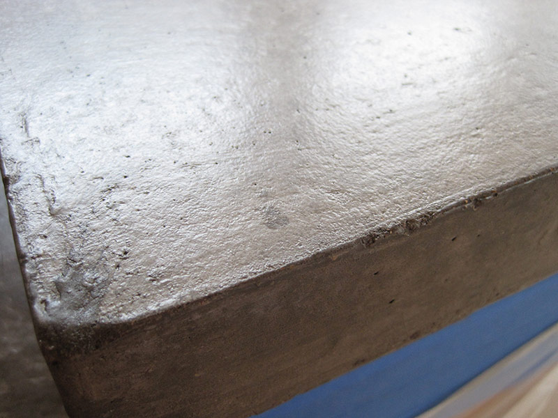close up view of concrete countertop edge