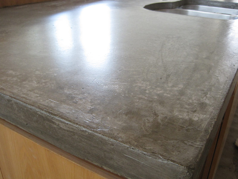 side view of concrete countertop with sink