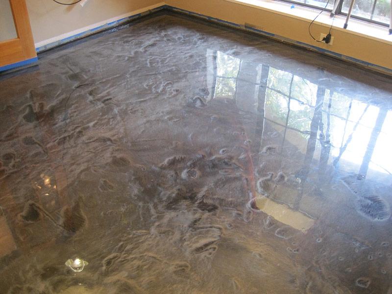 floor after applying metallic epoxy