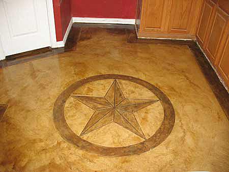 star of texas scored into concrete floor
