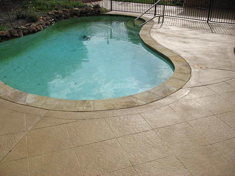 pool deck showing tile pattern in skim coat