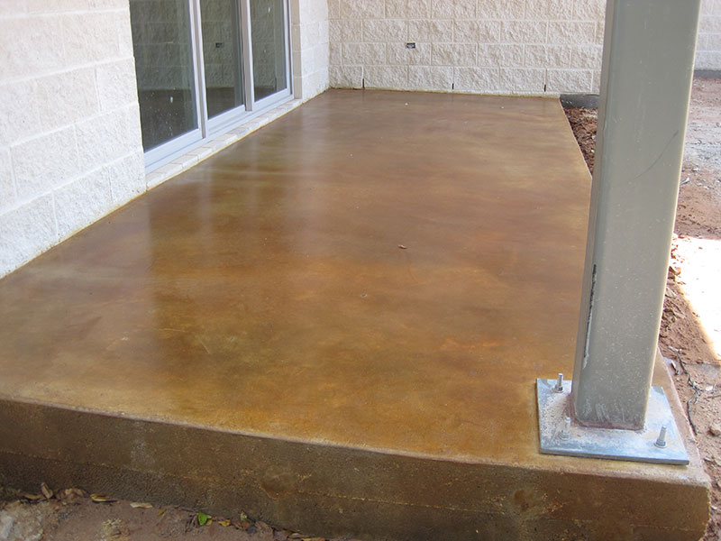 gold acid stained porch