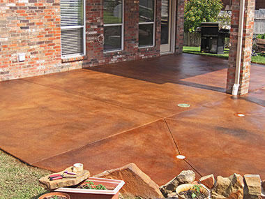 umber and black acid stained patio