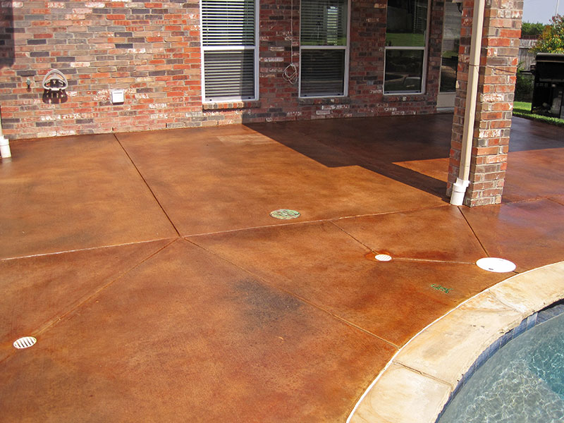 acid stained pool deck