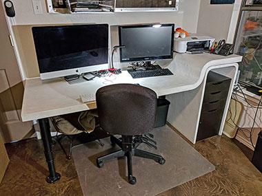 white concrete computer desk