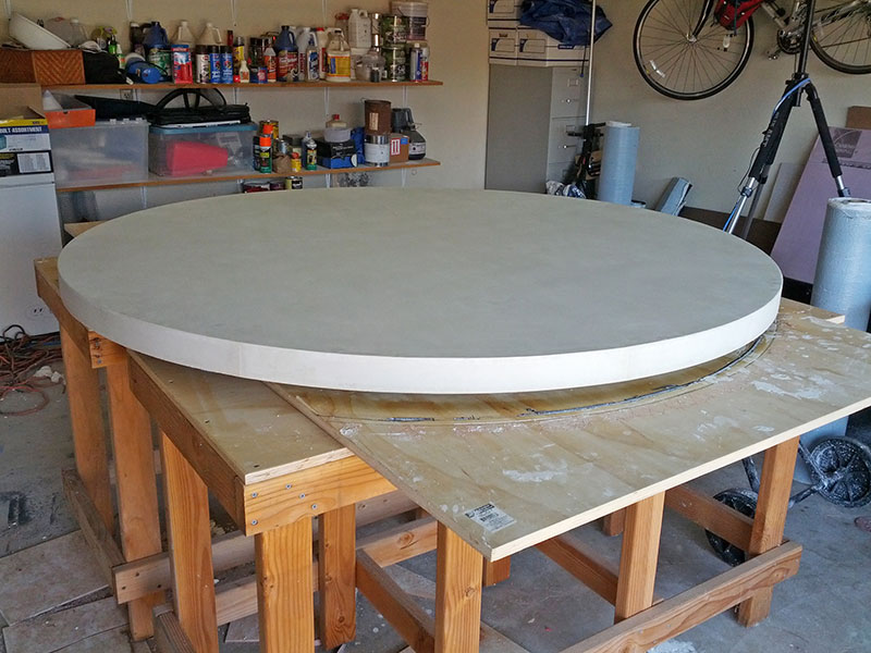 round table top after being poured