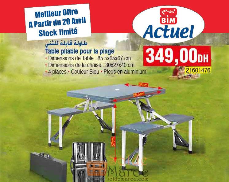 meilleur offre bim du vendredi 20 avril table pliable plage et picnic 349dhs