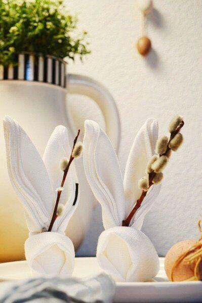 Tischdeko fr Ostern Anleitung fr gefaltete HasenServietten von Lucie  SoLebIchde