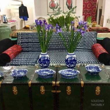 Indigo blue, hand loomed textiles from Kenya.