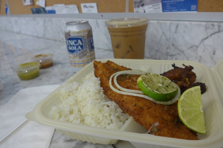Dinner at Las Olas: fish and fluffy Cuban white rice!