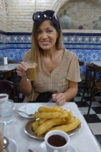 Churros con chocolate at Bar El Comercio