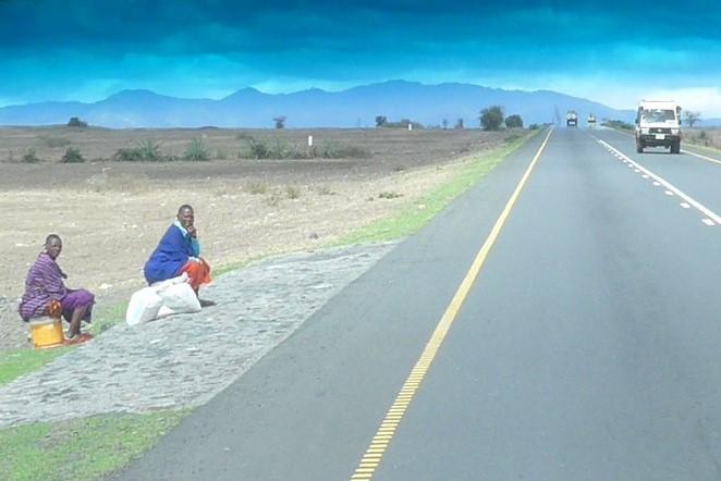 Maasai alongside road