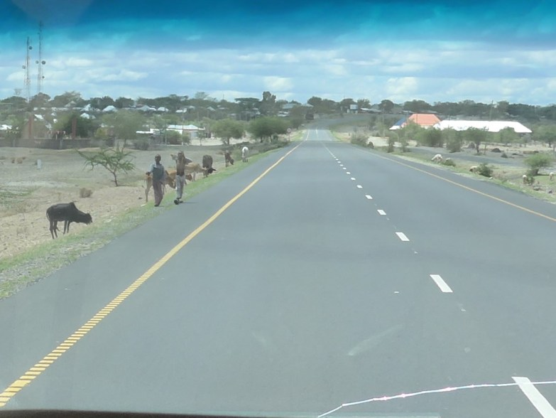 Maasai children on side of road