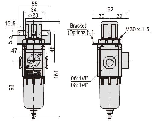 GFR200-06 GF200-08 GF300-15 airtac valve Air source Port